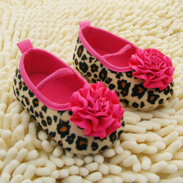 Fashion Kids Girl Leopard Baby Shoes Peony Flower Infant Toddler Crib Shoes 0-18Months