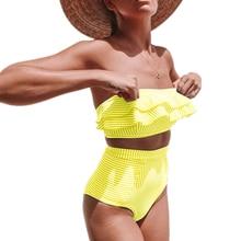 цена на 2019 Women's Plus Size Swimsuit High Waisted Split Ruffles Push up Halter Bikini Off Shoulder Ruffled Flounce Two Piece Swimwear