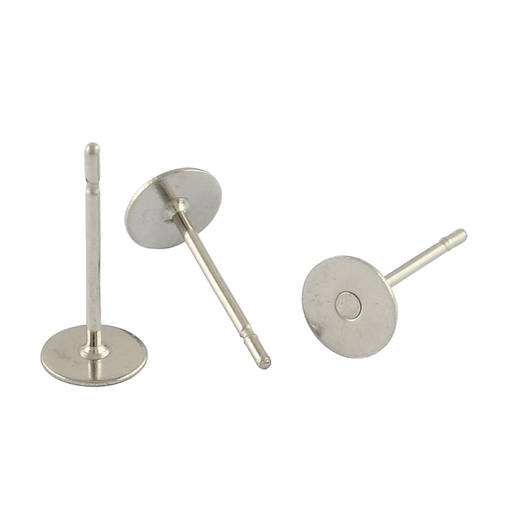304 Stainless Steel Flat Round Blank Peg Ear Stud Components, Stainless Steel Color, 12x5mm, Pin: 0.6mm