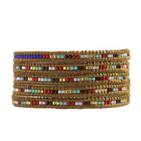 Fashion Crystal Seed Beads 5 Strand Wrap Beaded Bracelet for Women and Men Design Handmade Multilayer Leather Bracelet Jewelry