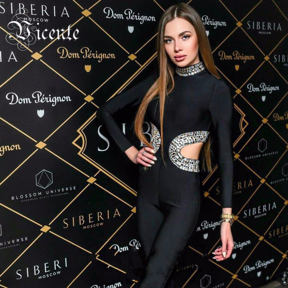 Vicente HOT 2019 New Luxe Heavy Workmanship Beads Embellished Cut Out Side Long Sleeves Women Bodysuit Bandage   Jumpsuit