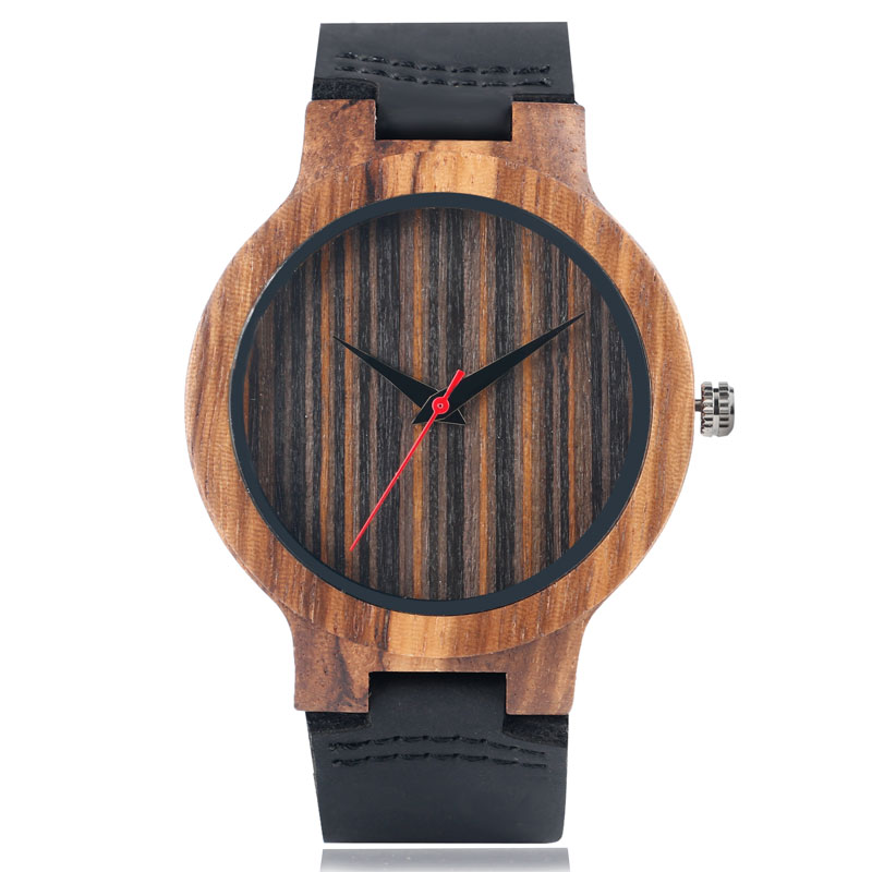 Creative Wood Watch Male Wristwatches Wooden Clock Mens Bamboo Leather Wood Watches Gift relogio de madeira
