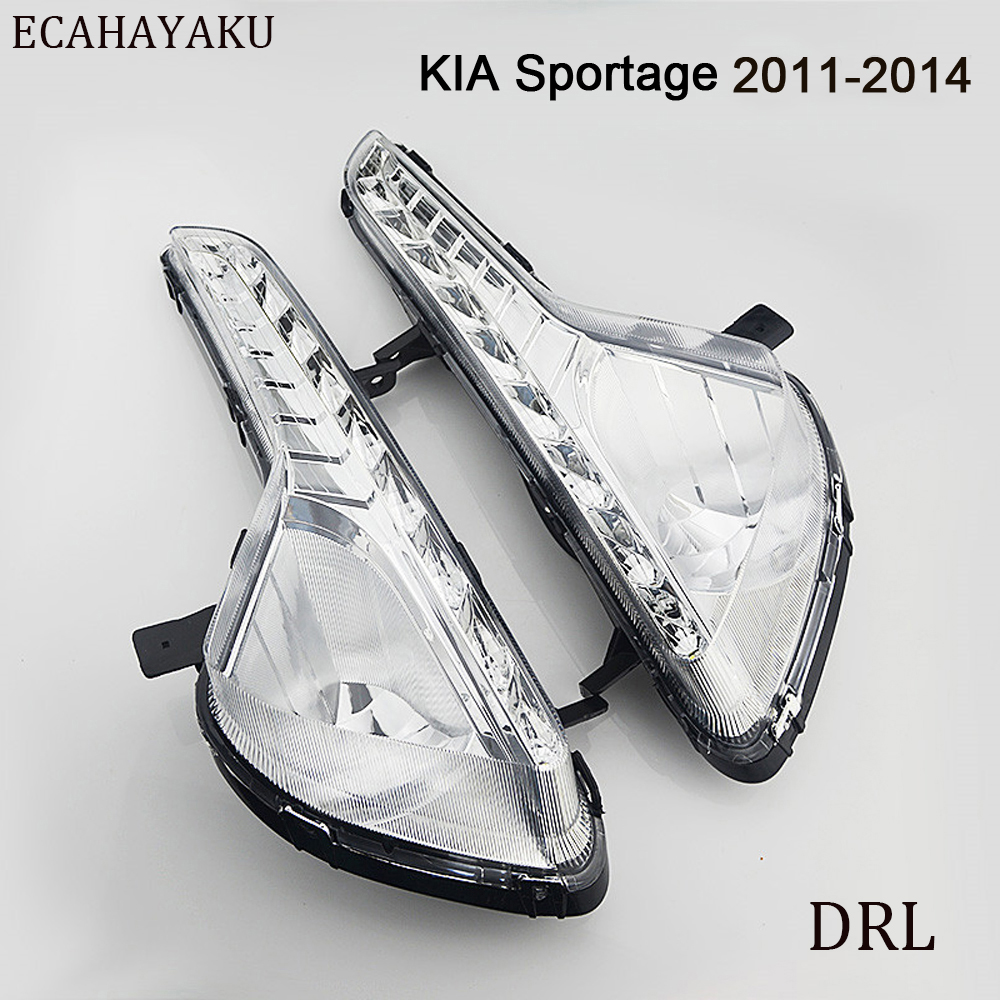 CAR FLASHING LED DRL Daytime Running Light for Kia Sportage 2011 2012 2013 2014 Fog Lamp Cover Daylight with Yellow Turning 12v car dimming style relay drl kit for kia rio k2 led daytime running light auto led fog lamps daylight 2011 2012 2013 2014