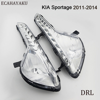 CAR FLASHING LED DRL Daytime Running Light for Kia Sportage 2011 2012 2013 2014 Fog Lamp Cover Daylight with Yellow Turning