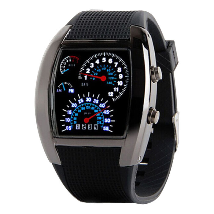 Men LED Light Speedometer With Calendar Sports Fan Dashboard Car Dial Meter Watch LXH