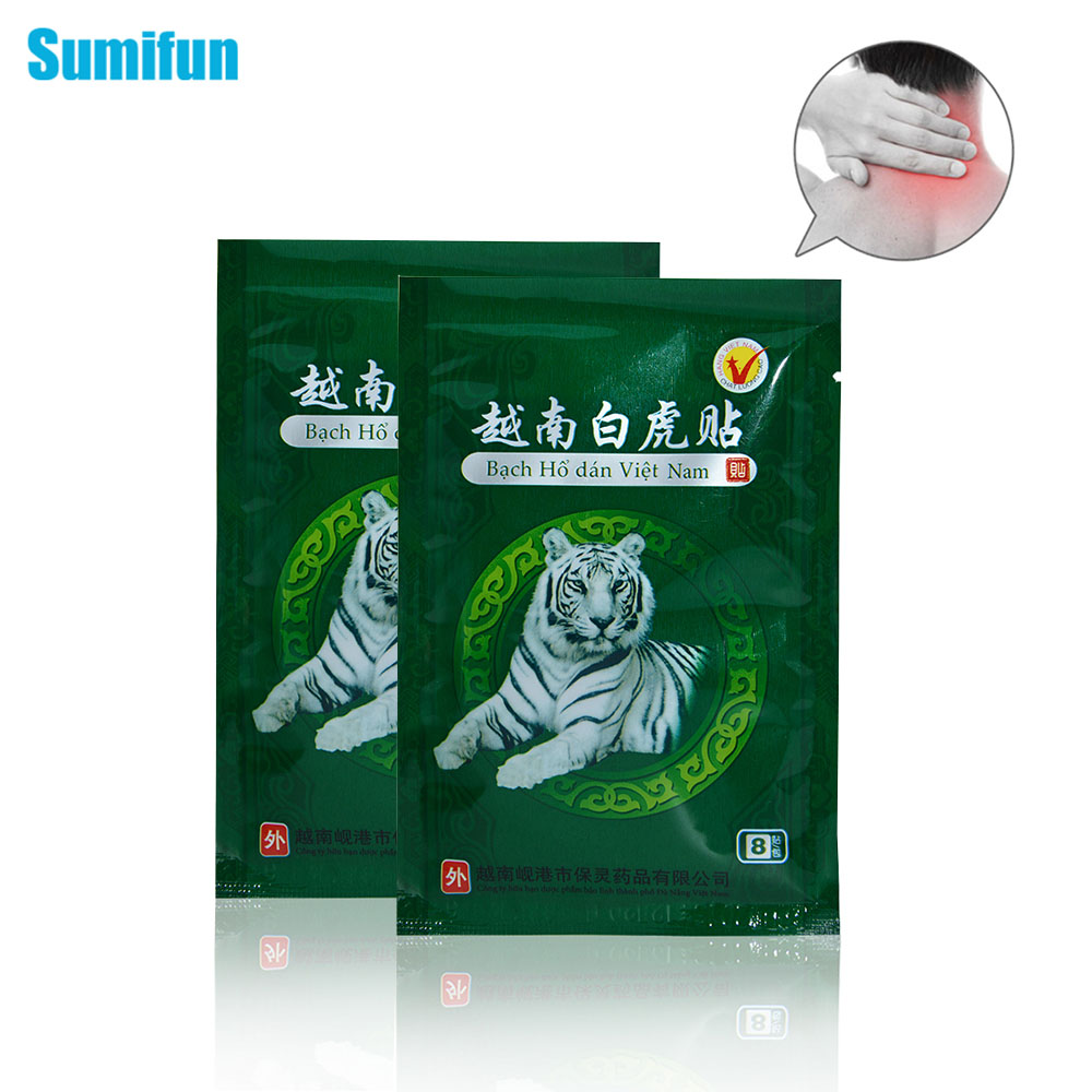 Sumifun 8Pcs Vietnam White Tiger Balm Pain Patch Muscle Rthritis Neck Plaster Relaxation Capsicum Rheumatism Plaster C053