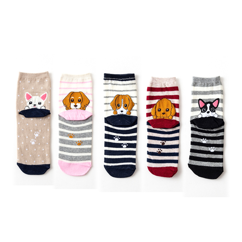 Cartoon Beagle Samoyed Fashion Tube Style Animal Dog Women's Short Warm Winter Cotton Cute Lady Casual   Socks   Women   Socks   Female
