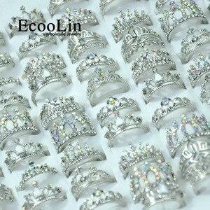 Image 3 - Anillo de circonia brillante para mujer, 50 Uds., corona real, joyería de compromiso para mujer, lote de paquetes LR4024