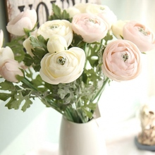 1 pcs Artificial Ranunculus Flowers 22.8 Long Real Touch Bulbs Silk Flower For Wedding Decoration