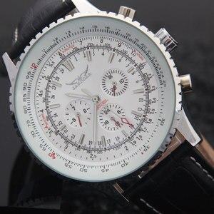 Image 2 - יוקרה JARAGAR מכאני שעונים גברים קלאסי אוטומטי 6 פינים לוח שנה גדול חיוג רצועת שעוני יד montre homme relojes suizos