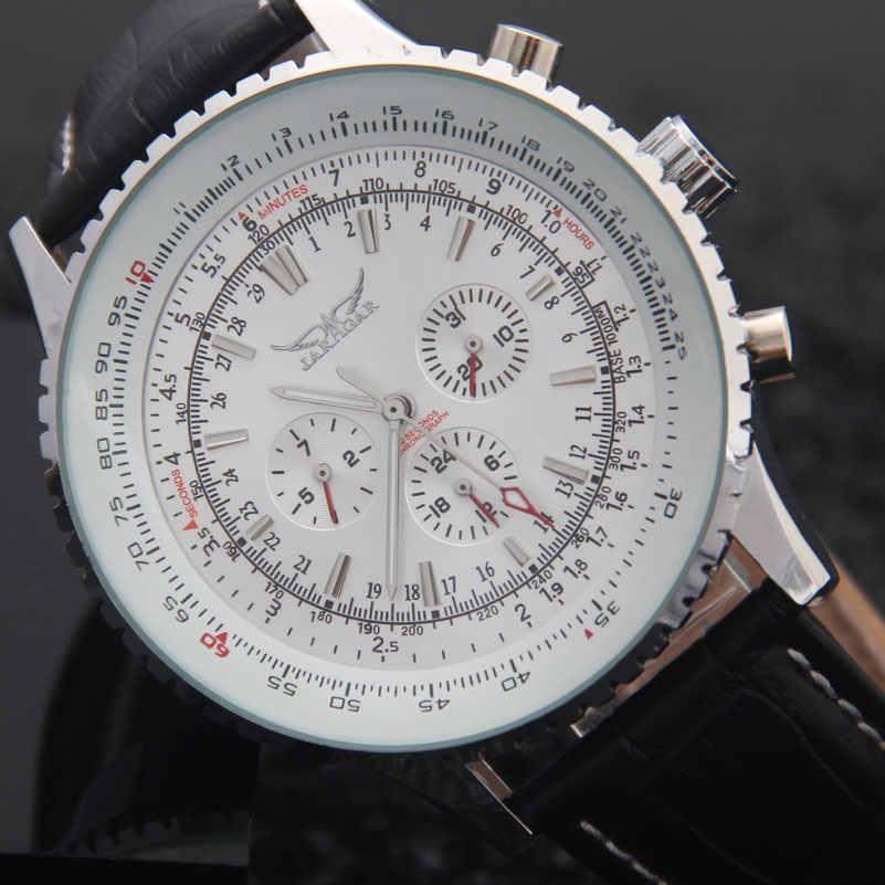 JARAGAR Новая мода механические часы Для мужчин Элитный бренд Классические, автоматические 6-контактный переходник с внутренней календарь большим циферблатом кожаным ремешком наручные часы