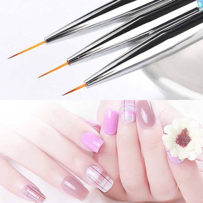 Pinceles de dibujo en línea de arte para uñas, 3 uds., exquisito lápiz de lentejuelas de moda, líneas de lápiz a rayas, construcción de imágenes