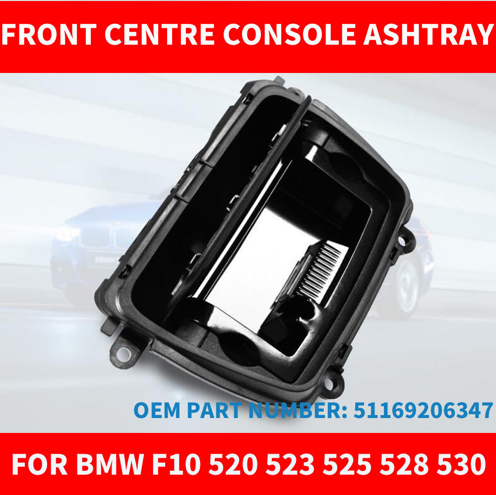 Black ABS Front Center Console Ashtray Assembly Box Good Fits For BMW 5 Series F10 F11 F18 520 525 OEM 51169206347 Car Styling
