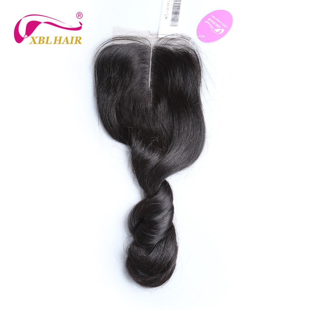 XBLHAIR Loose Wave Lace Closure Middle Part With Baby Hair Malaysian Human Hair 130% Density Natural Color Remy Free Shipping