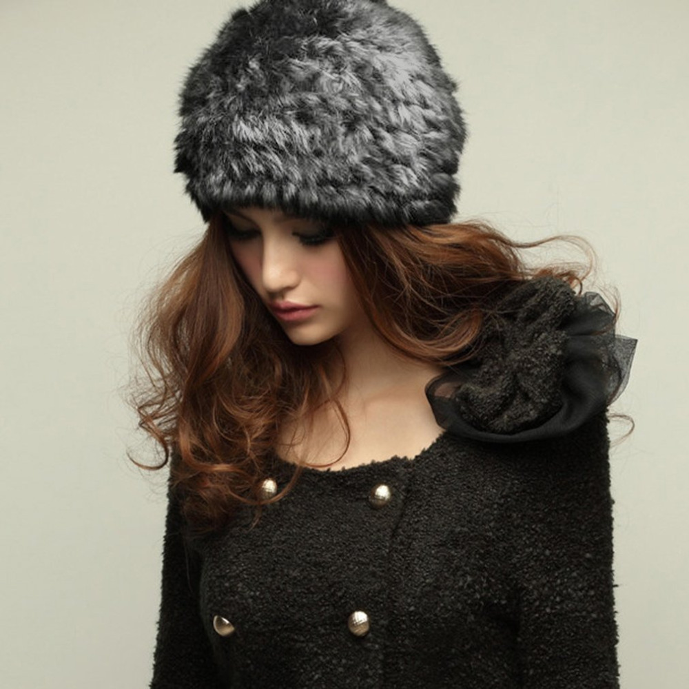 Women Rabbit Fur Knitted Cap Ladies Knitting wool Fur Casual beanies caps cute Girls cap winter thick warm hats Russian Style cute cartoon bear ms qiu dong the day man with thick warm knitting wool hat sets pointed cap