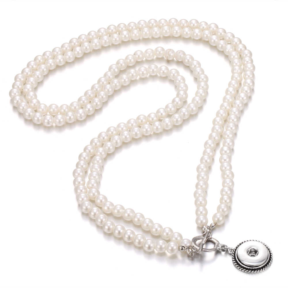 New Snap Jewelry Bohemia Women Colliers Simulated Pearl Necklace 18mm Snap Button Necklace Pendant Choker Necklaces