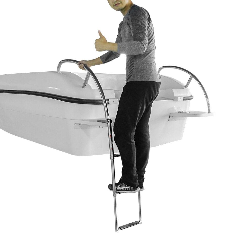 Échelle de télescope d'embarquement en acier inoxydable MSC 3 étapes pour bateau marin piscine étapes de natation en acier inoxydable de qualité marine