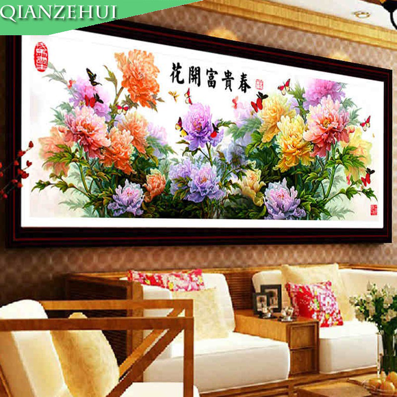 QIANZEHUI,The New Precision Printing Peony Cross Stitch Wholesale Living Room Sharply Blossoming Spring Needlework Free Shipping