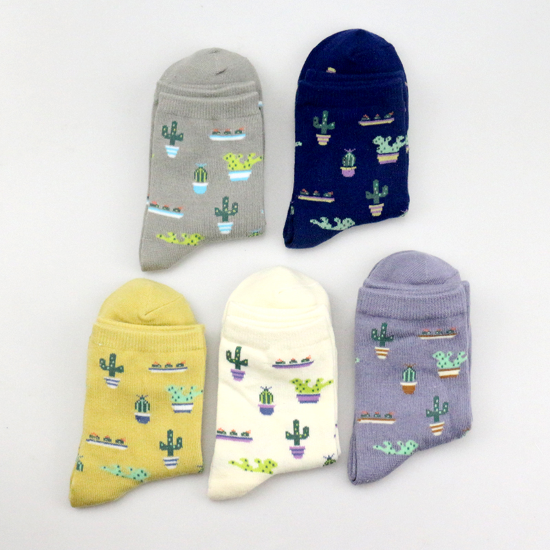 Plant Cactus Pattern Socks Women Men Comfortable Cute Cotton Casual Soft Socks Sokken Warm Short Unisex Hipster Socks Meias Soks