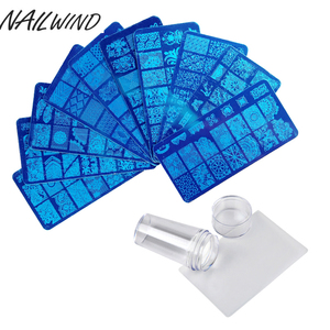 NAILWIND Flower DIY Polish Stamping Clear Silicone Nail Art Template Plates Plate Tool Stamper Scraper with Cap Stamping