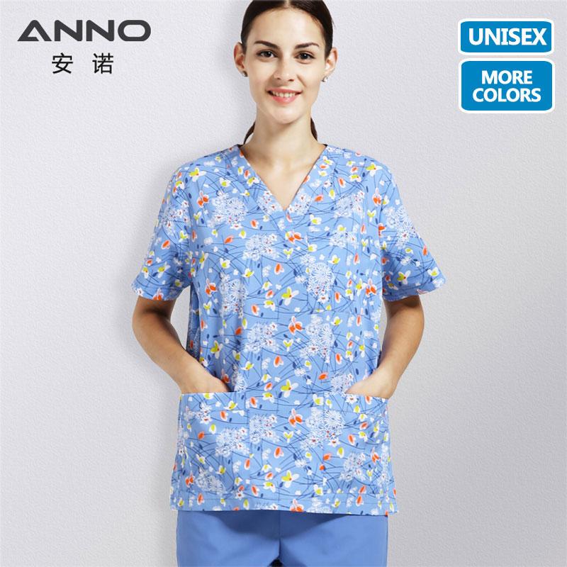 ANNO Zdravotní oděvy Nemocniční oblek Scrubs Muži Ženy Volitelné Košile a Kalhotky Sestra Uniformní chirurgické peelingové oblečení Lékařské šaty