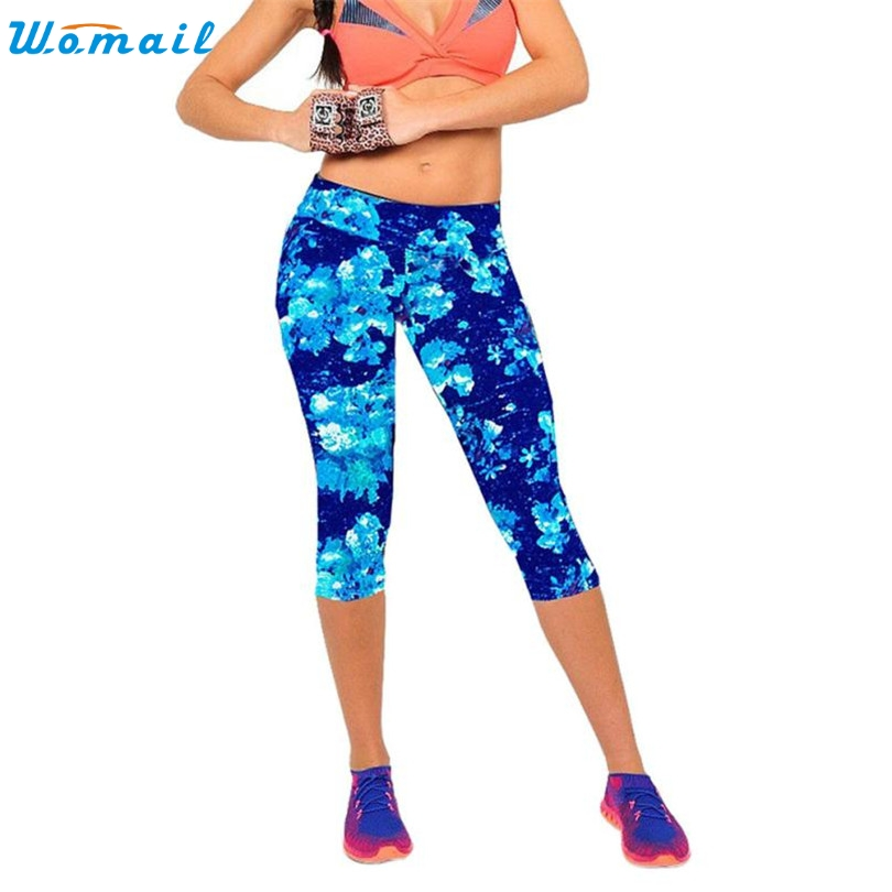 Durable 2017 6 color leggings women summer High Waist Fitness Workout Pants Printed Stretch Cropped Leggings