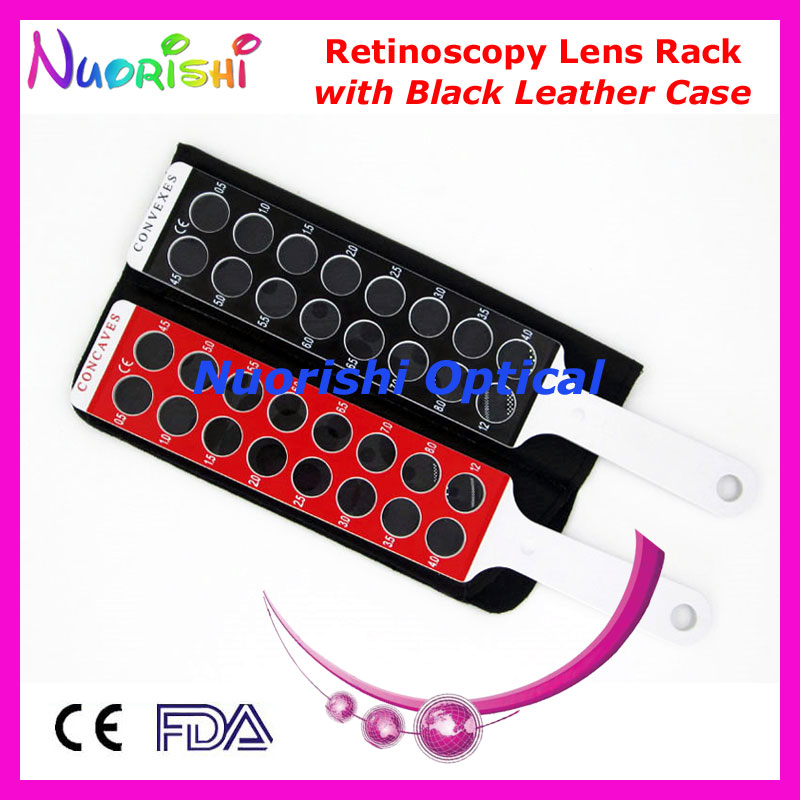 E03-9B Optometry Retinoscopy Board Lens Rack in Solid White Handle Flipper Packed by Black Leather Case Free Shipping