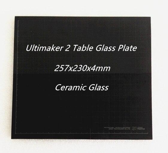 Cama caliente mesa de vidrio cerámica placa de vidrio para ultimaker 2 um2 257x230x4mm 3D Partes de impresora