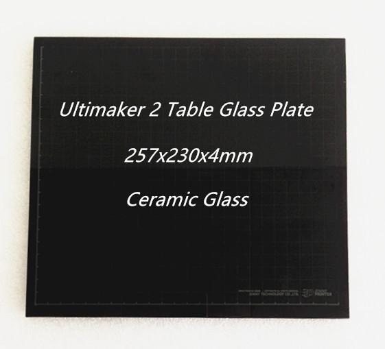 Cama quente Mesa de Vidro Placa de Vidro Cerâmica para Ultimaker 2 UM2 257x230x4mm Peças de Impressora 3D