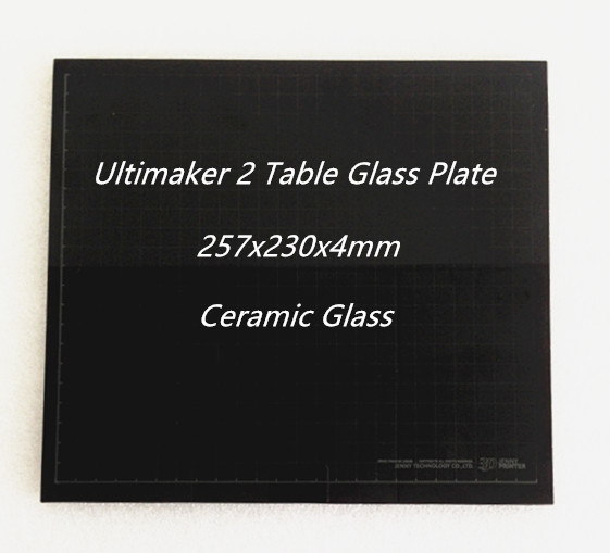 Hot Bed Bord Glas Keramisk Glasplatta för Ultimaker 2 UM2 257x230x4mm 3D Skrivardelar