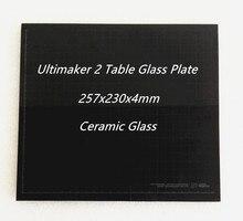 Ultimaker 2 UM2 257x230x4mm Tavolo di Vetro Lastra di Vetro di Ceramica per 3D Piattaforma di Costruzione Della Stampante FDM