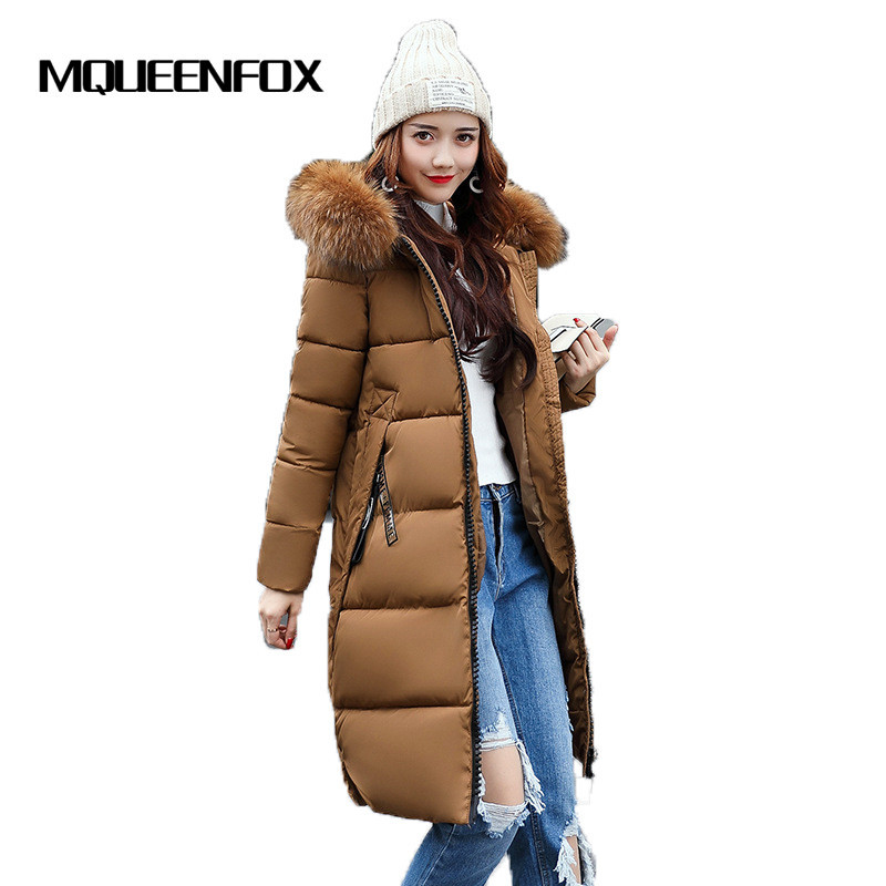 2017 New Winter Coat Jacket women long cotton clothes Warm Hooded fur collar Cotton Coat 2017 winter new clothes to overcome the coat of women in the long reed rabbit hair fur fur coat fox raccoon fur collar