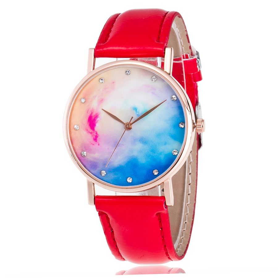 New Famous Luxury Brand Planet Bright Colorful Star Rose Gold Watches Leather Casual Quartz Wrist Watches Women