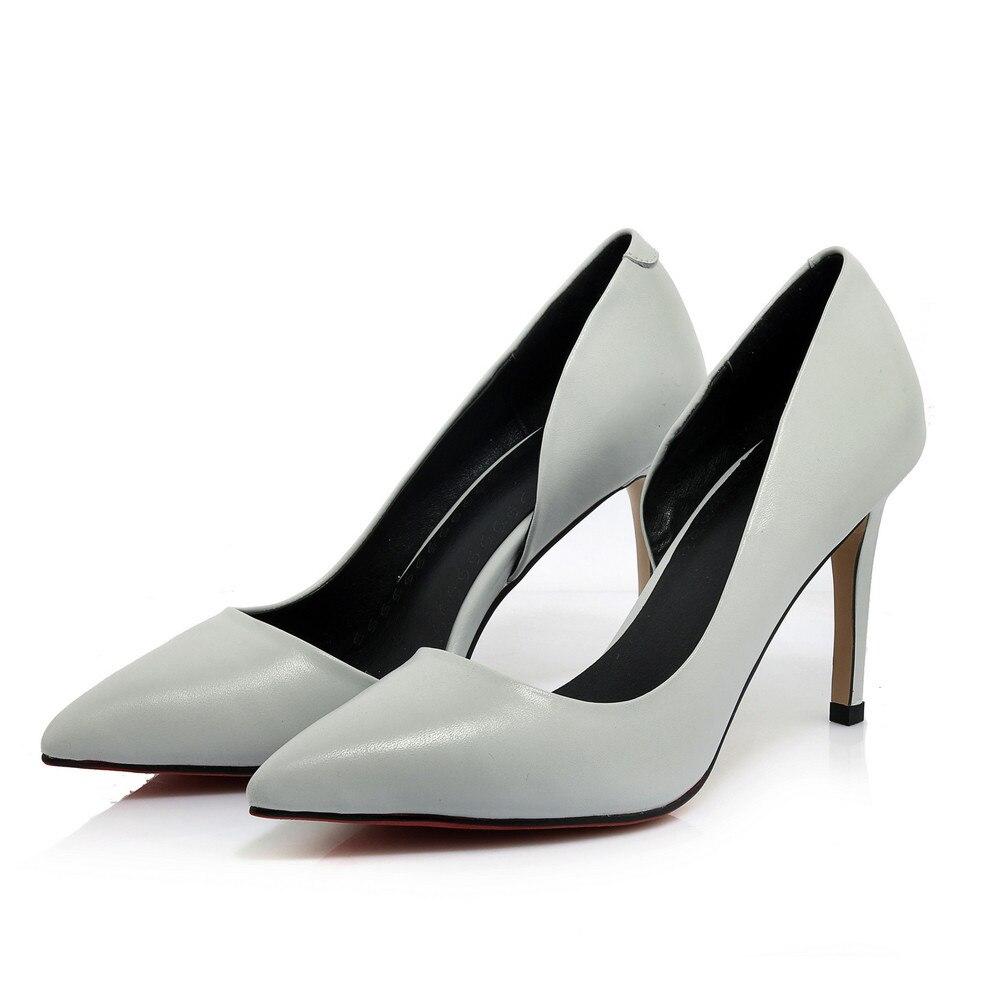 Negro Bombas Talones Masgulahe Estrecha blanco gris Alto Nueva Cuero Llegada Tacón Blanco Zapatos Negro Mujeres Genuinos De Finos Punta Otoño Primavera qFr6U0q