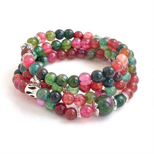 Christmas Ornament 6mm Natural Semi precious Stone Multi color Sterling Silver Charm Beads Bracelet GSB K003