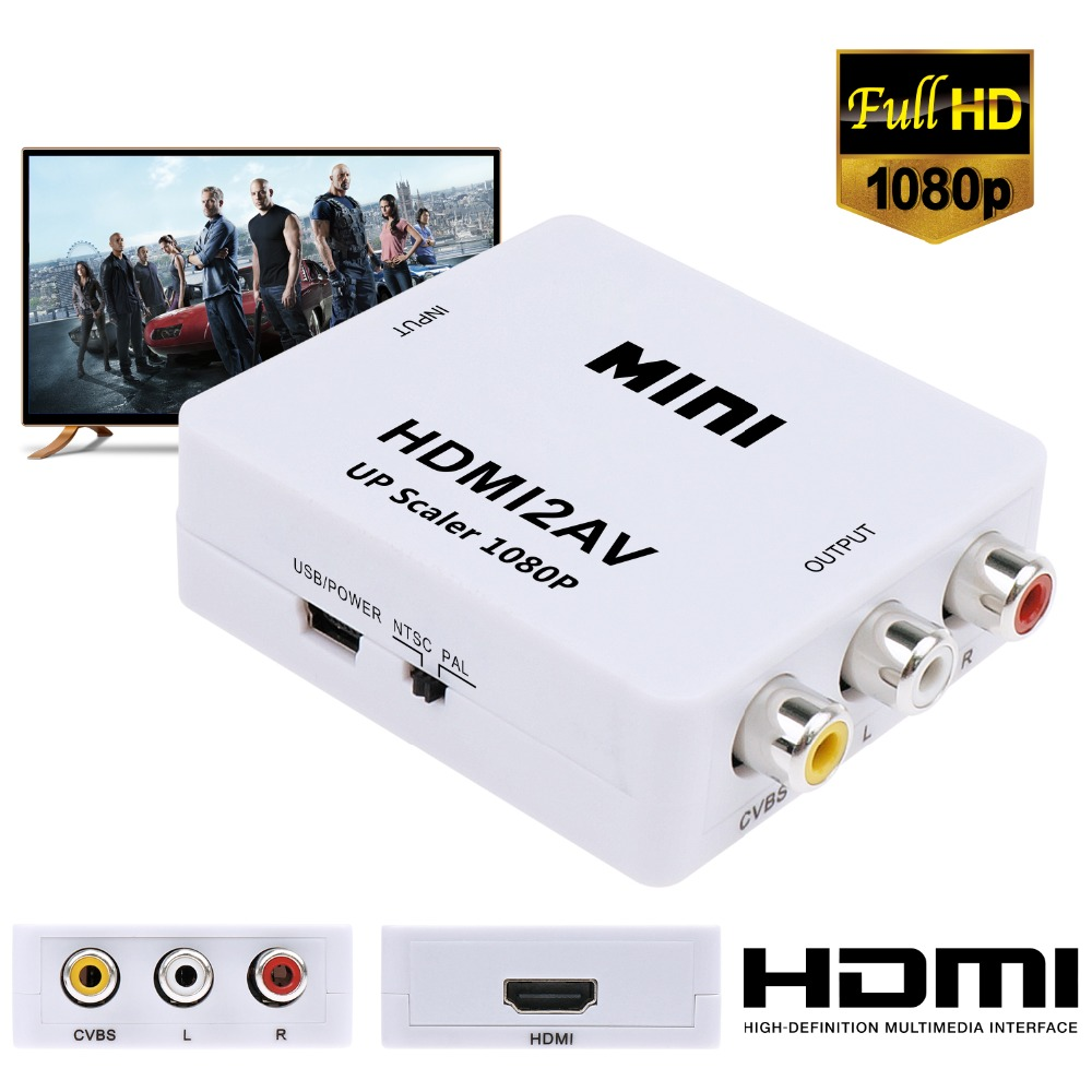 JCKEL HDMI to RCA AV CVBS Component Converter Scaler 1080P Adapter Cable Box for Monito L/R Video HDMI2AV HD Support NTSC PAL