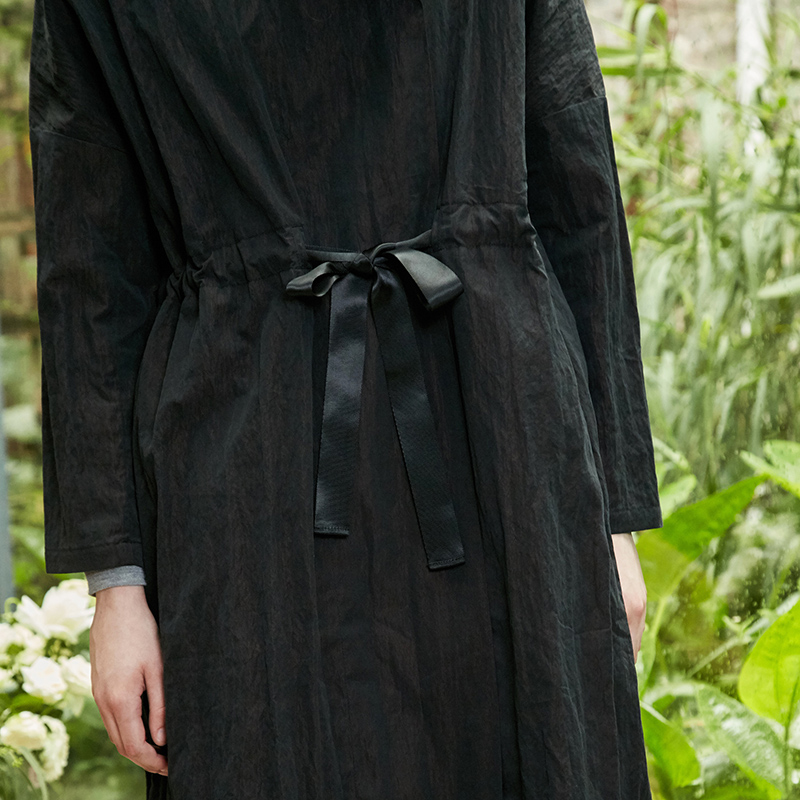 Manteau Manteaux Manches Solide Amii Mnfg Long Lâche Longues À Femmes Par Cordon Noir Rides q78q5wtxC