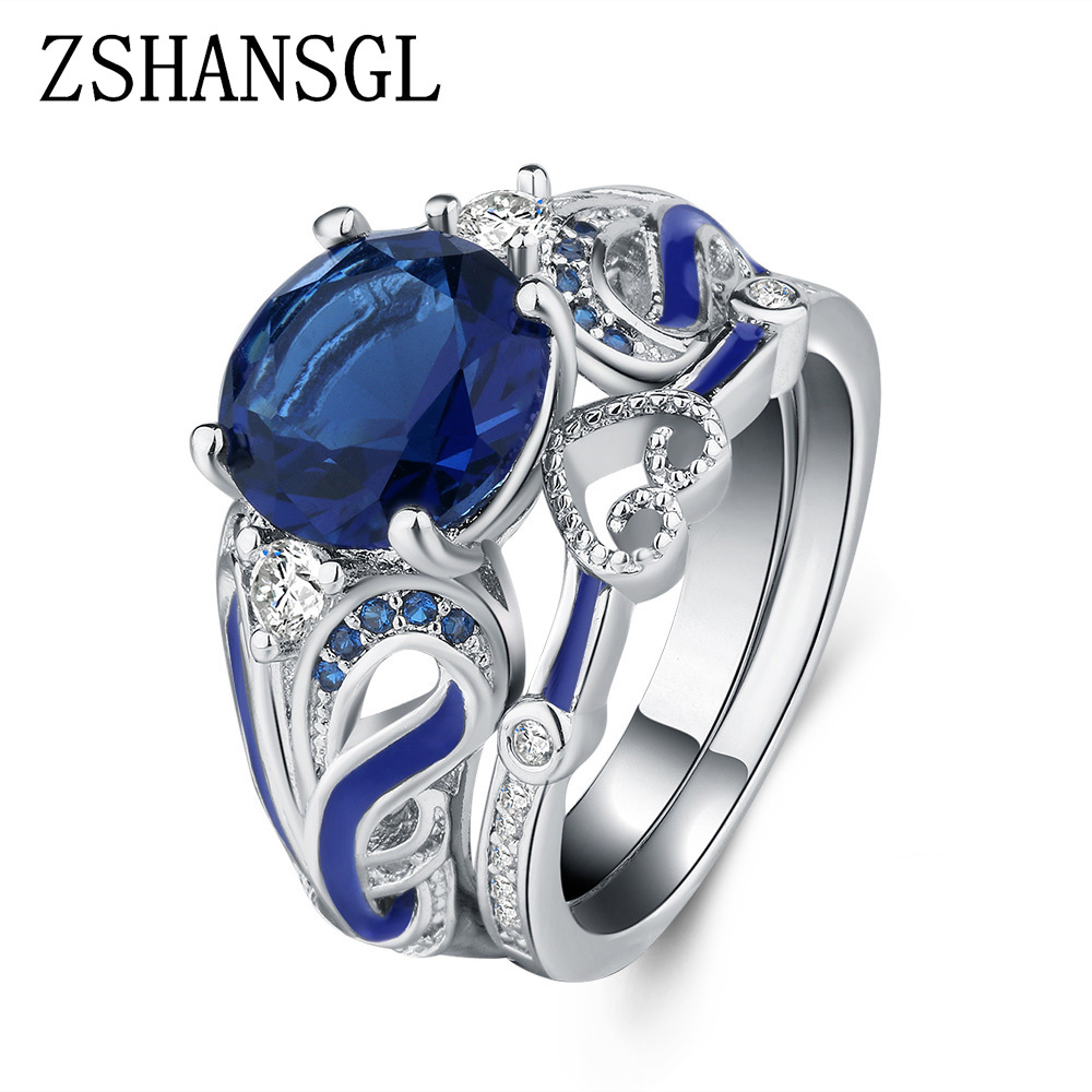 6 Lukky Jewerly Fashion Women Heart Blue White Gemstone Silver Ring Fashion Jewelry