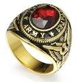 Размер 7-15 Золото Тон Покрытием Из Нержавеющей Стали Красный Стон Сша Армия Кольцо Перстень Ввс Флота Морской ветеран