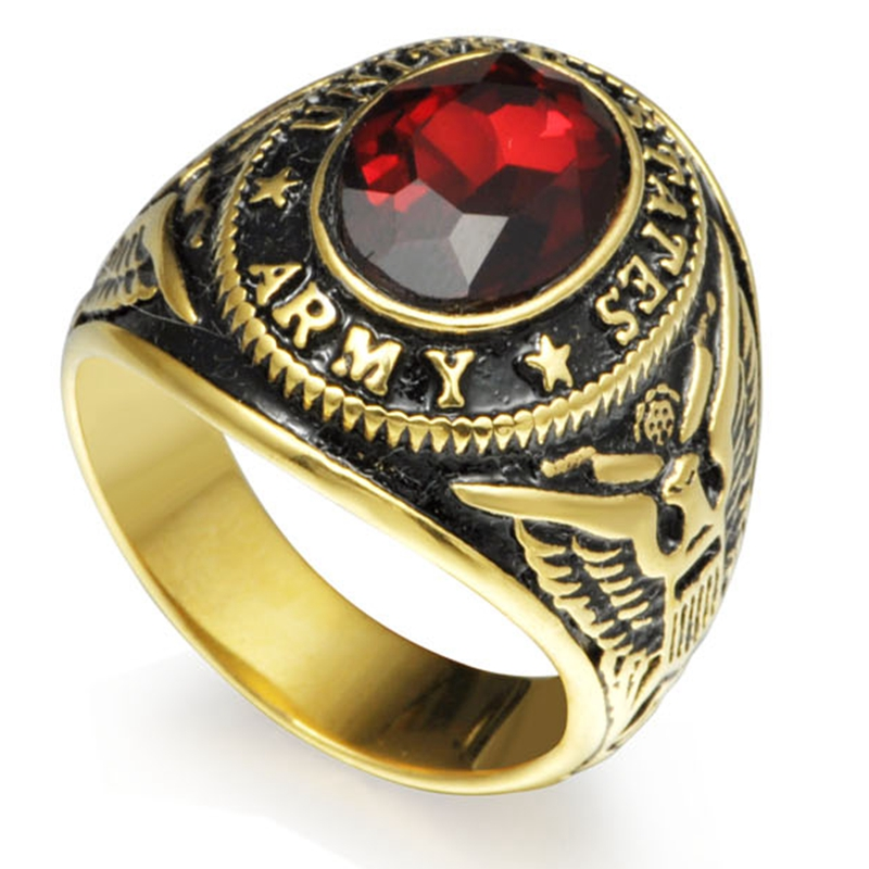 Size 7-15 Gold Tone Plated Stainless Steel Red Ston United States Military Army Ring Signet Navy Airforce Marine Veteran