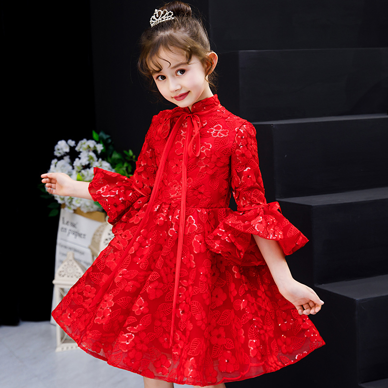 Rouge paillettes broderie fleur fille robes Flare manches col montant robe de soirée à manches longues robe de bal enfants robe de reconstitution historique