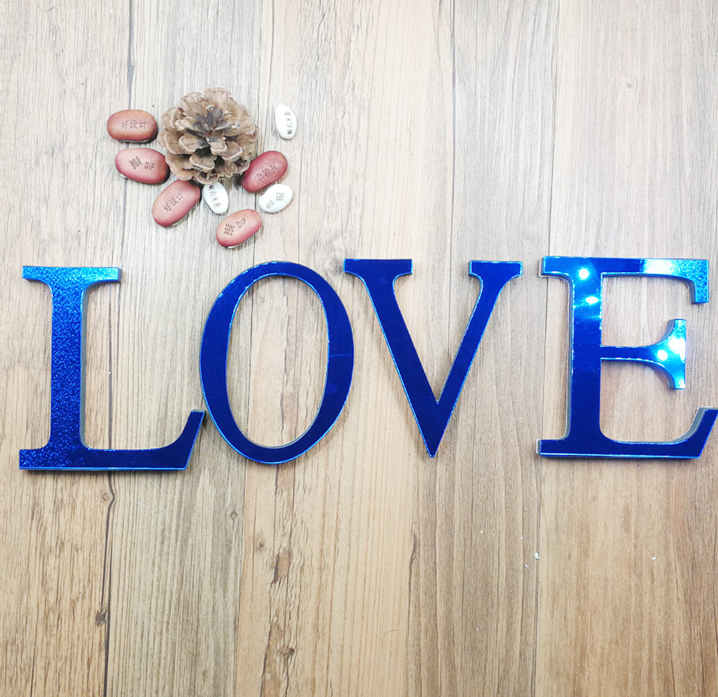 DIY Blue Acrylic Letters 26 English Freestanding Letter Alphabet Lights Bridal Wedding Party Room Home Office Decorations Crafts