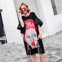 TREND Setter 2018 Summer Fashion Punk Cartoon Girl T shirt Women Ice cream Print Long Tshirt Flare Sleeve Loose Causal Tops 1903