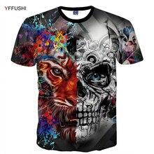 hot deal buy yffushi 2018 male 3d tops summer two color skull print monster 3d  print both side hip hop short sleeve tshirt plus size 5xl