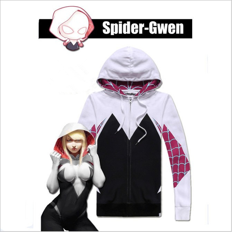 Spider Gwen Stacy Spider Cosplay Costume Anti-Venom Gwen Spiderman Halloween Female Party Hoodies Jacket Outfit Clothing Coat