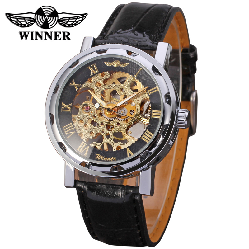 все цены на  Winner brand mechanical watch for men black leather band free shipping WRG8008M3S6  онлайн