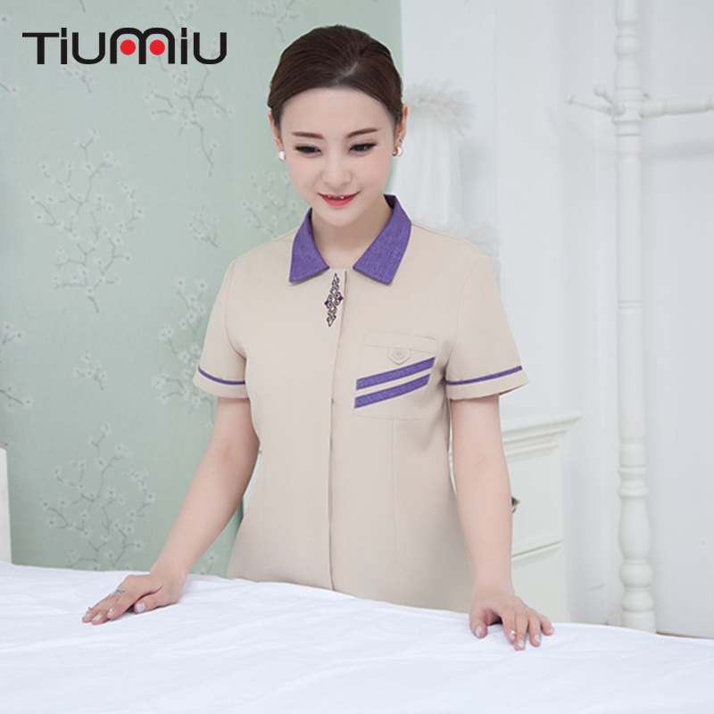 Summer Hotel Cleaning Workwear Uniforms Short Sleeve Housekeeping Cleaning Service Lady Women Traditional Hot Sale Waiter Jacket