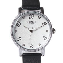 Disney бренда Минни женщины часы 30 м водонепроницаемый кварцевые часы Кожаные Женские модные часы