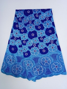 Blue New Arrivals African Swiss Voile Lace High Quality Nigerian 100% Soft Cotton Lace Fabrics With Stone 5 Yards/lot Wholesale