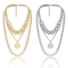 Ladies Multi-layer Alloy Necklace Thick Chain Sweater Jewelry Gifts Collares Mujer Simple multi-layer necklace